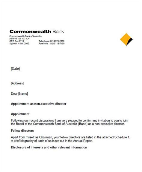 appointment letter sle for bank appointment letter format of bank 28 images formal