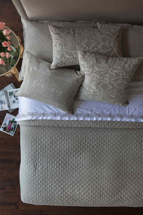 diamond quilted coverlet lili alessandra emily 100 percent linen diamond quilted