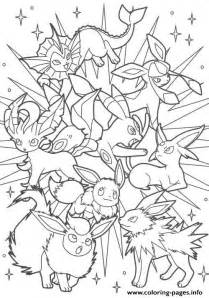 pokemon eevee evolutions coloring pages backgrounds