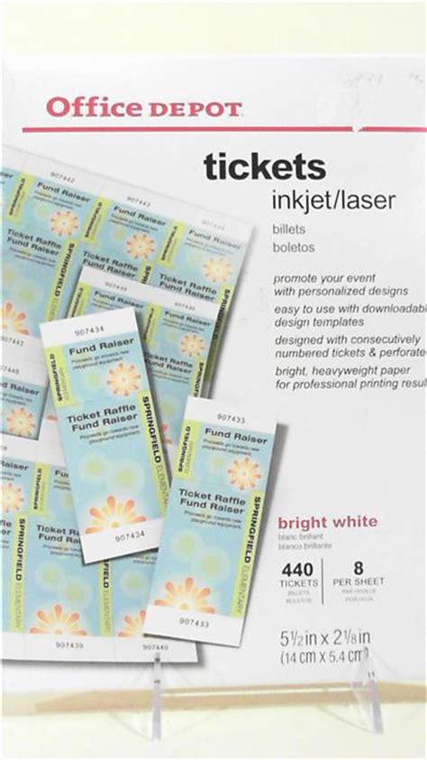 inkjet printable tickets office depot 440 tickets inkjet laser art business 922 761