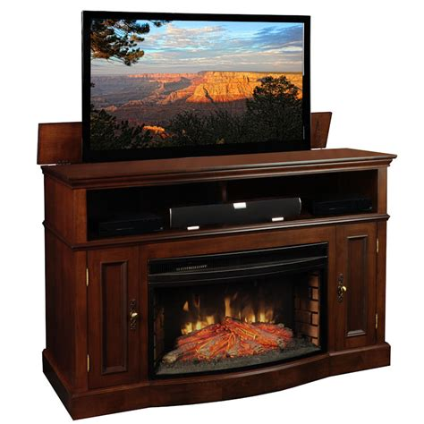 huntington tv lift console and electric fireplace by