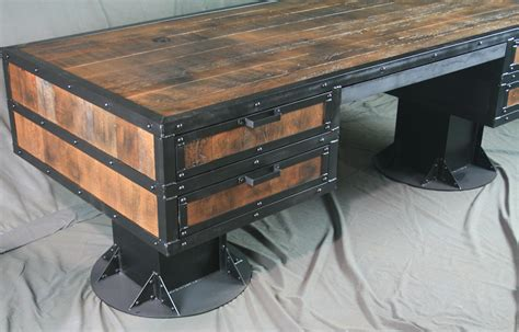 reclaimed wood desk with drawers combine 9 industrial furniture vintage industrial