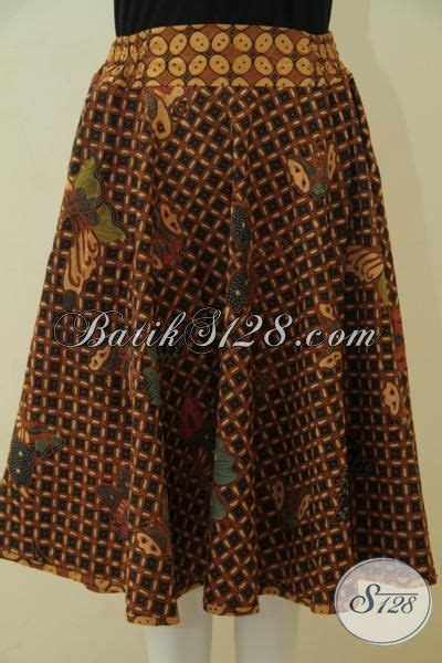 Rok Batik Pendek Klok Kuning Bawahan Batik Katun Embos B31115052kng bawahan batik warna coklat tua anggun dan kalem model