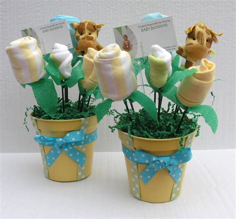 2 baby shower centerpieces baby clothes bouquet by babyblossomco