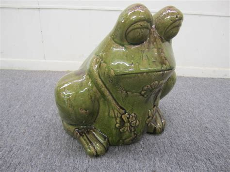 Frog Planters by Charming Large Green Glaze Pottery Frog Planter Mid