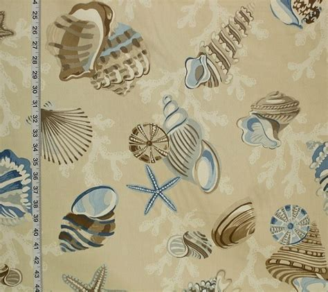 seashell upholstery fabric seashell fabric starfish sea stars coral funky brown blue
