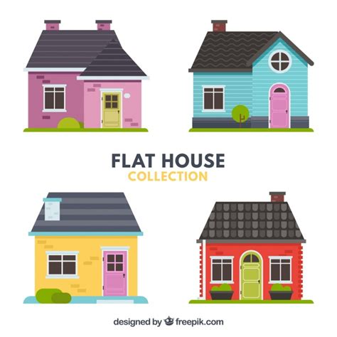flat pack house designs pack of four beautiful houses in flat design vector free download