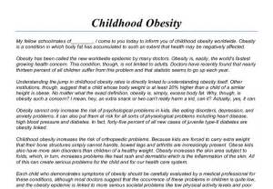 Satirical Essay On Obesity by Childhood Obesity Speech Gcse Marked By Teachers