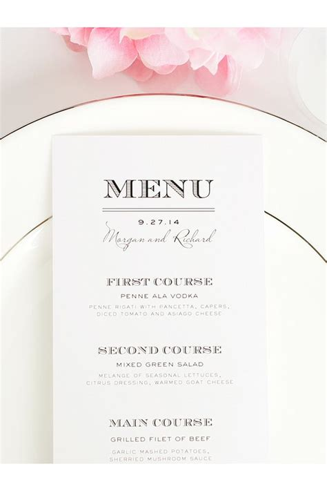 25 best ideas about menu cards on pinterest wedding