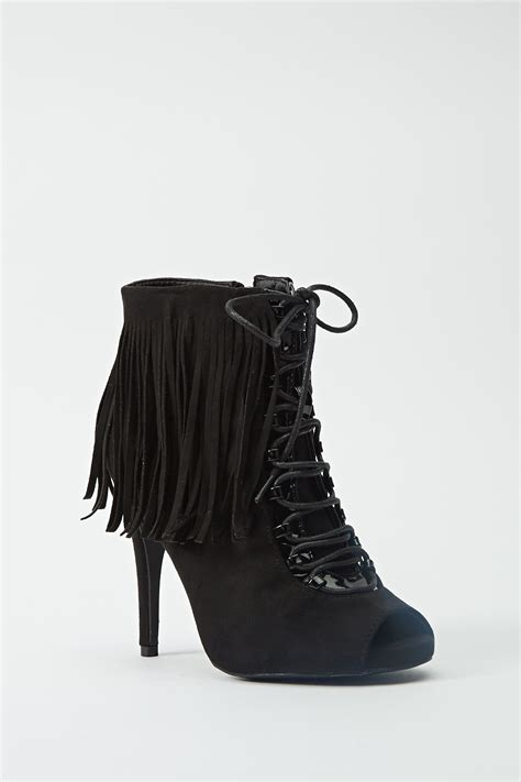 peep toe fringe ankle boots just 163 5