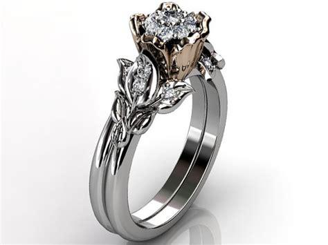 Unique floral engagement ring wedding ring engagement set er 1062 5