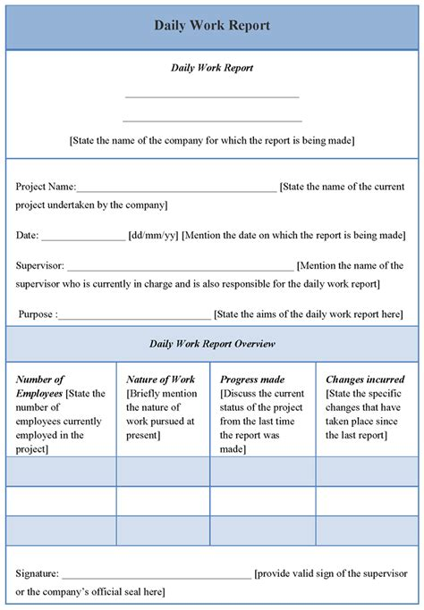 layout project report format daily work report template with blue table layout helloalive