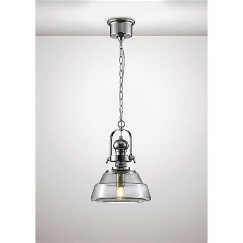 Small Pendant Lights Uk Diyas Reyna Single Light Small Ceiling Pendant In Polished Chrome And Clear Glass Finish