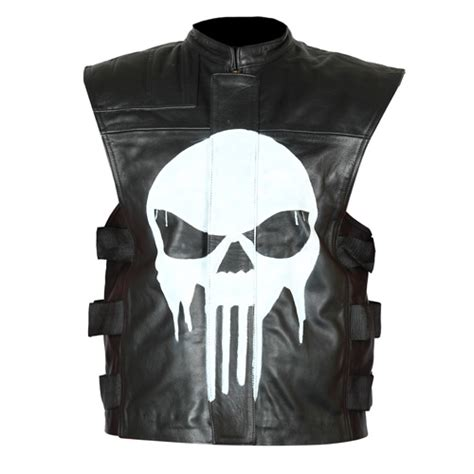 biker jacket vest the punisher black biker genuine leather vest