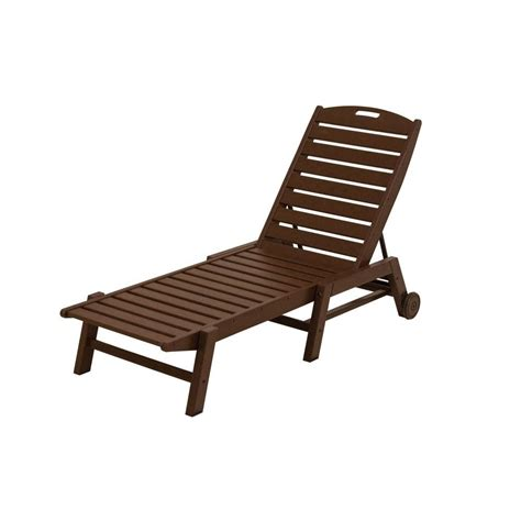 armless chaise lounge polywood nautical mahogany wheeled armless patio chaise
