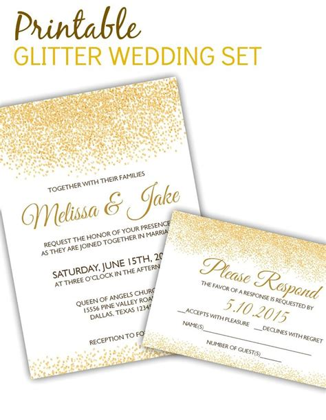 Printable Glitter Invitation Rsvp Set Only 10 For Unlimited Use And Printing Of The Glitter Invitation Template