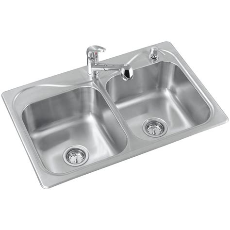 Kitchen With Two Sinks Sterling R11402 2pc Na Southhaven Basin Kitchen Sink 33 In X 22 In Lowe S Canada