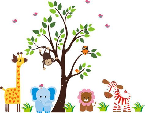 zoo wall stickers nursery zoo with tree wall decals