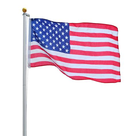 Bunting Flag Hbd Hello V yeshom 20ft sectional flag aluminum pole kit 3 x5 us flag screwdriver 2 flags ebay
