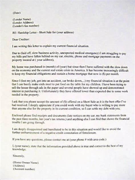 Divorce Letter To Bank Sle Hardship Letter Mortgage Bank Foreclosure Sale