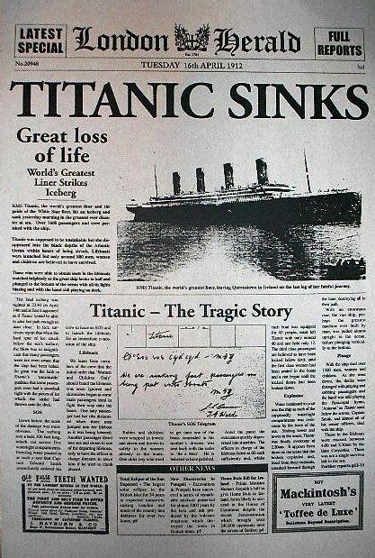 Titanic Sinks Newspaper by 065 Vintage Reprint Advert Titanic Ship Sinks 1912
