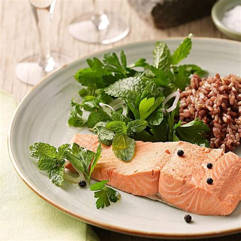 healthy dinner recipes for two greatist poached salmon with fresh herb salad recipe eatingwell
