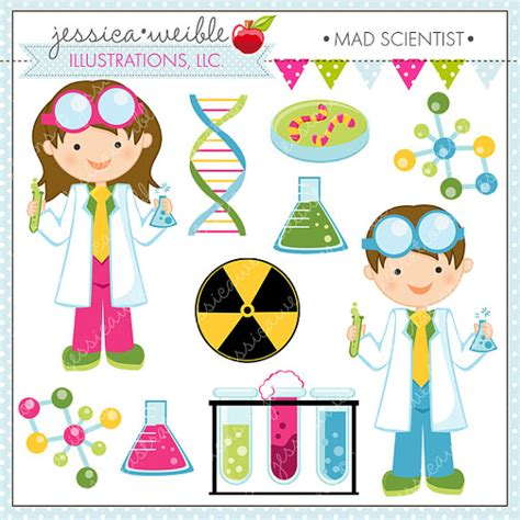science themes pictures mad scientist cute digital clipart for by jwillustrations