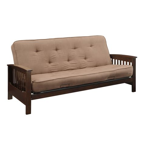 Sofa Bed Kmart 249 00 Essential Home Heritage Futon With 6 Inch Coil Futon Mattress Magazine Rack Holder