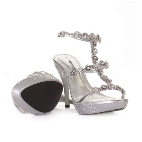 silver high heel shoes for prom womens silver high heel ankle evening wedding prom