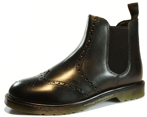 oaktrak belper black leather brogue chelsea mens boots