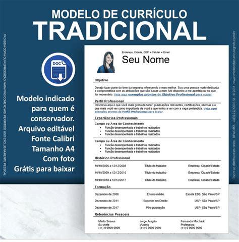 Modelo Curriculum Vitae Objetivo Profesional 18 Modelos De Curr 237 Culo Prontos Para Baixar E Preencher Gr 225 Tis 2018