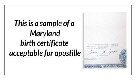 Maryland Birth Records This Is A Sle Of A Maryland Birth Certificate Acceptable For Apostille State Of Maryland