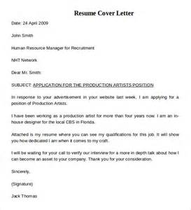Simple Cover Letter Resume by Resume Cover Letter Exle 8 Documents In Pdf