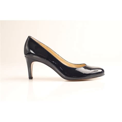 kaiser karat navy blue leather court shoe with all