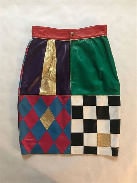 Patchwork Pencil Pattern - moschino vintage 1980s leather patchwork pencil skirt