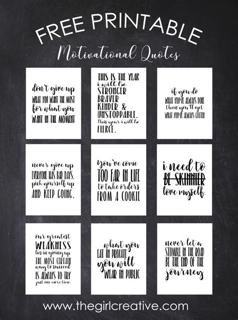 printable list of inspirational quotes free printable motivational quotes the girl creative