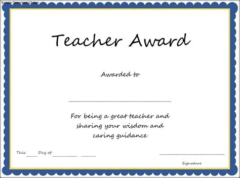 teacher award certificate template sle templates