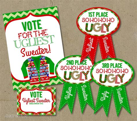 printable ugly christmas sweater awards ugly sweater party voting awards ballots sign decorations