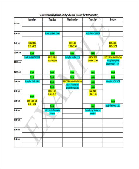 Lsus Mba Program Class Schedule 2017 by 9 Weekly School Schedule Templates Sle Exle