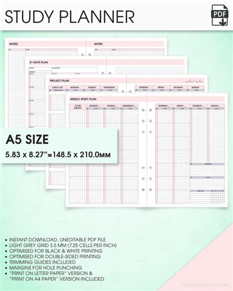 printable study planner student planner printable kit a5 inserts a5 study planner