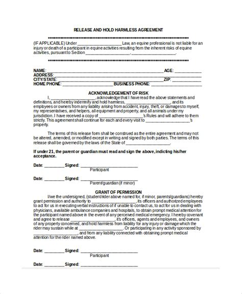 waiver of liability and hold harmless agreement template 12 hold harmless agreements free sle exle