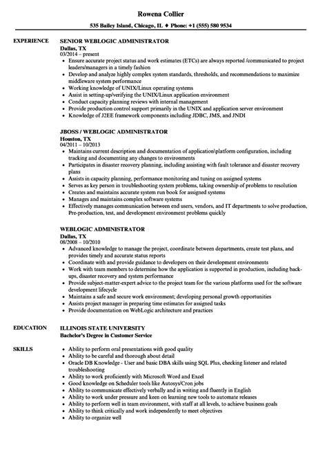 Weblogic Administration Sle Resume by Weblogic Administrator Resume Sles Velvet