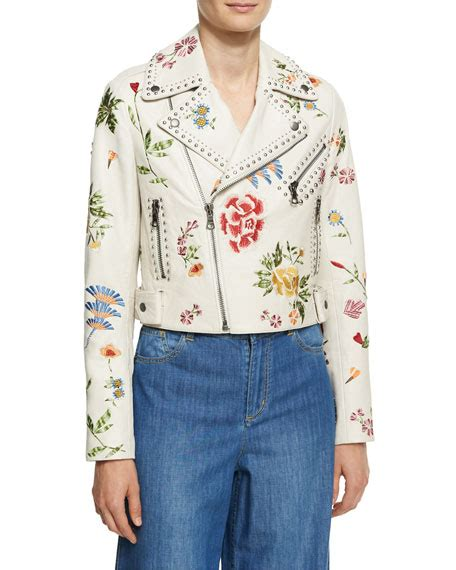 White Embroidered Jacket embroidered studded leather jacket white multi and matching items