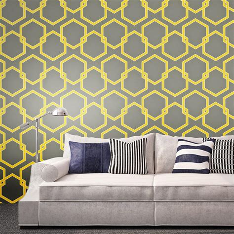 grey removable wallpaper honeycomb industrial loft grey yellow white removable
