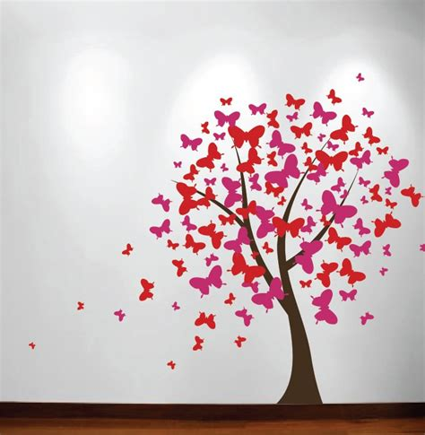 Walldecor Stick Es large wall tree baby nursery decal butterfly cherry blossom