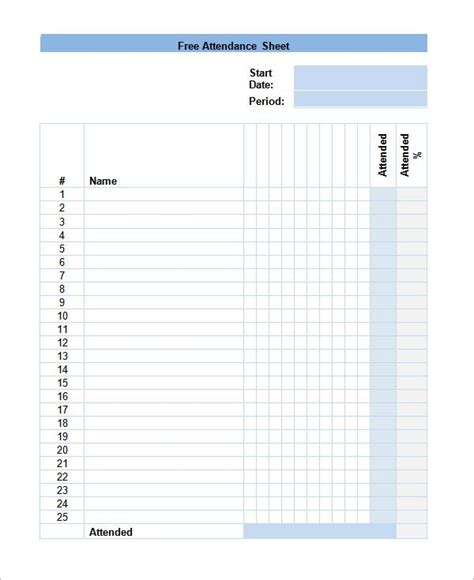 attendance forms template the 25 best attendance sheet template ideas on