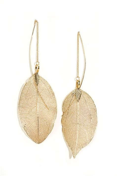 Golden Leaf Earring by 25 Best Ideas About Leaf Earrings On Flower