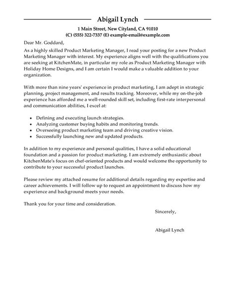 Sle Letter For Product Launch Best Product Marketer Cover Letter Exles Livecareer