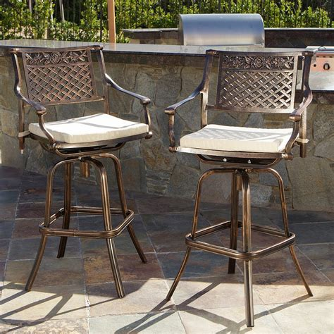 cast aluminum bar stools sierra outdoor cast aluminum swivel bar stools w cushion
