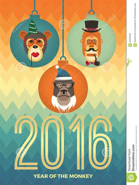 new year monkey element vector illustration of monkeys symbol of 2016 stock
